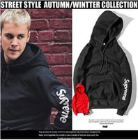 Wholesale Hoodie Styles Men - Popular Logo Bieber Hoodies Fleece Pullover Hoodies Sleeve Patch Skateboard Hooded Sweatshirts Street Style Black and Red Color