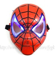 Wholesale Led Glowing Eyes Mask - Thicken Halloween Glowing Spiderman Spider Man Mask With Blue LED Eyes For Kids Boys 50pcs lots