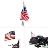 Wholesale Cover Honda Cbr - Motorcycle Chrome Flag Pole Mount and 6 x 9 Flag American USA For Harley Honda Goldwing CB VTX CBR Yamaha Luggage cover