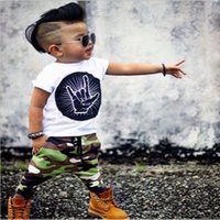 Wholesale Camouflage Sleeves T Shirts Children - Ins Boys Clothing Sets Children Outfit printing short sleeve T shirt Tops + camouflage color pants Harem Pants Boy Suit baby clothes A599