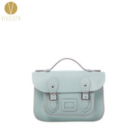 "Wholesale British Vintage Leather Bag - Wholesale- 8.5"" MINI PASTEL BRITISH GENUINE LEATHER SATCHEL BAG - Women's Cute Vintage 2016 Pantone Color Crossbody Messenger Bag Handbag"