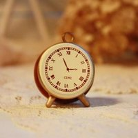 Wholesale Small Wooden Clocks - Wholesale- 1pc vintage retro style alarm clock small wooden stamp DIY seal