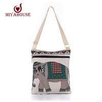 Wholesale Owl Dresses For Women - Wholesale-Hot Sale Cartoon Elephant Print Messenger Bags Canvas Women Shoulder Bags For Female Casual Canvas Bags Owl Design Crossbody Bag