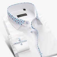 Wholesale High Collar Dress Shirt Men - Wholesale- Brand Men Floral White Shirt Men Dress Shirt Long Sleeve Cotton Casual Slim Fit Formal Business Designer High Quality Plus 4XL