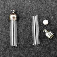 Wholesale Vial Glass Pendant Tube Bottle - 50pieces 29x5mm tube shape glass vial pendant glass pendant wishing glass bottle locket necklace pendant name on rice bottle