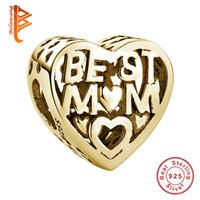 Wholesale Gold Mom Necklace - BELAWANG Wholesale Rose Gold Color Heart Charm Beads BEST MOM Beads fit Pandora Bracelet&Necklace Fashion Charms DIY Jewelry for Mother