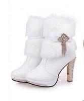 Wholesale Almond Boots - Boots PU Women's White Middle Heel Tassels Rabbit Fur Wedding Shoes Bridal High Middle Heel Shoes Ankle Boot