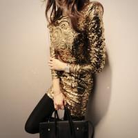 Wholesale Long Black Sequin Dresses - Glamorous Glittering Golden Sequin Mini Long Sleeve Fashion Metallic Dress Cocktail Party Spring Black Silver Sequin Bodycon Dresses