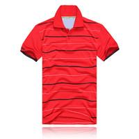 Wholesale Crocodile Sport - 2017 NEW Fashion polos stripe Men T-shirts crocodile Short Sleeve Tops Cotton polo sports Short Sleeve Summer Casual Polo shirt Free Shippi