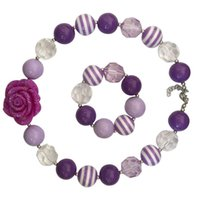 Purple Rose Baby Bubblegum Necklace Set Mejor regalo Vintage Princess Accesorios de joyería Fashion Children Photo Props