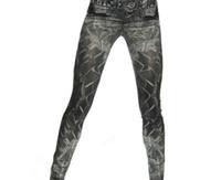 Wholesale Tattoo Print Leggings - Wholesale- New Design Nine Pencil Jeans Elastic Straight Tattoo Mess Printed Thin Style Skinny Personality Ladies Leggings Femme