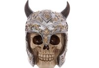 Wholesale Skull Knight - Halloween Art Craft Gift Cowhide Horn Helm Skull Knight Decoration Creative 3D Stereo Resin Skull Craft Gift Halloween Europe and America