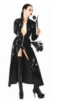 Wholesale Dress Black Matrix - Lady and man S-XL Unisex Men Women Catsuit Sexy Leather Long Coat Black PVC Bodysuit Dress The Matrix Halloween Cosplay Gay Latex Costume
