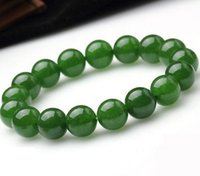 Wholesale Round Natural Gemstone Bead Stretch - 8mm Genuine Natural Green Jade Round Gemstone Beads Stretch Bracelet 7.5'' AAA