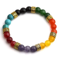 Wholesale Multi Bead Link Bracelet - Multi-color Healing Balance Beads Bracelet Yoga Life Energy 7 Chakra Natural Stone Bracelet Women Men Casual Jewelry