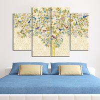 pinturas de decoración de cebra al por mayor-Pájaros coloridos en el árbol de la flor Pinturas sin marco