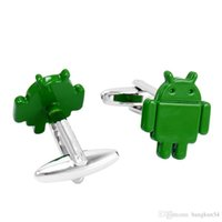 Wholesale Robot Painting - Free Shipping-Europe's most popular Green paint android robot cufflinks