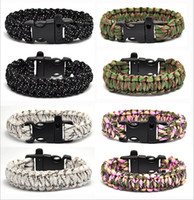 Wholesale Survival Bracelet Whistle Buckles - (50 piece) Survival Bracelets Flint Fire Starter Whistle Gear Buckle Camping Ignition Equipment Resure Rope Escape Bracelet free shopping