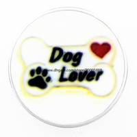 Wholesale professional christmas gifts - fashion Professional dog lovers 18 mm glass print ginger snap button jewelry luxurious alloy bottom fit 18 mm snaps bracelets best gifts