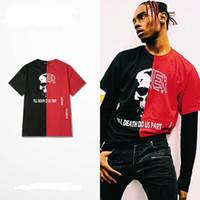 Wholesale Rock Fashion Boy - Fashion BROKEN print Red&black oversize style hiphop streetwear fitness t shirt men brand t-shirts hot selling top Rock cool boys girls