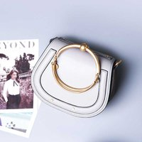 Wholesale Ladies Fashion Cross Ring - Caroris high quality women bags Simple cowhide totes Lady bags crossboday Metal ring shoulder messenger bag genuine leather fashion Casual