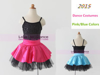 Wholesale Satin Belly Dance Dress - Child&Adult Stage Costumes Sequin+Satin+Tulle Tutu Dress Girls Jazz Dance Costumes Stage Wear Ballet Tutu Pink Blue Colors 14039