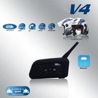 Wireless V4 4Riders Motorradhelm Gegensprechanlage Bluetooth Interphone 1200M FM Radio Funksprechgerät mit FM für Skifahren Radfahren Helm Headset