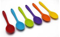 mutfak gereçleri toptan satış-Silikon Kaşık Renkli Isıya Dayanıklı Kaşık Mutfak Pişirme Araçları Gereçler
