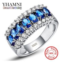 YHAMNI New Fashion 925 Silver Sterling Ring Jewelry Blue Diamond 10KT Vintage Party Aniversários de noivado para mulheres J501Y