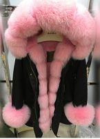 Wholesale Rabbit Fox Fur Collar Coat - Mr & Mrs Women's Furs long Parka real fox fur Collar ,placket and Cuff rabbit fur liner cold winter fur coat