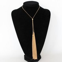 Wholesale Gold Tassel Necklace Sale - Women boho Hot sale Long Chain Tassel Pendant Necklaces New Silver Gold Plated Chain Bib Necklaces Jewelry Gifts GR