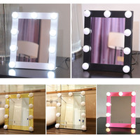 Wholesale Shell Makeup Mirror - Hot Sale Vanity Lighted Hollywood Makeup Mirrors with Dimmer Stage Beauty Mirror LED Bulb 1pcs Free Shipping
