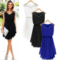 Wholesale Dress Neck Designs Out Lines - 3 New Design Plus Size Dress Fashion Women Sleeveless Chiffon Party Cocktail Pleated Casual Mini Dress Free Shipping CL243