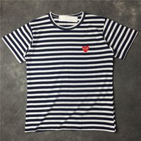 Wholesale Blue Striped T Shirt Women - Brand New Striped Men Casual Short Sleeved T-shirts Women Embroidery Fashion Tees Tops Tshirts Tee Shirts
