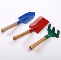 Wholesale 3 Mini Garden toys Hand Tool Shovel Spade Rake Wood Handle baby toys