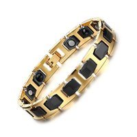 Wholesale Porcelain Gifts For Men - Fashion Healthy Magnetic Bracelets & Bangles Stainless Steel Jewelry For Men And Women Wholesale Health Bracelet Chain Plated Gold B878S