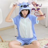 Wholesale Stitch Romper - Hot! Stitch 2017 New Summer Pajamas Unisex Romper Pajamas Adult Cosplay Costumes Sleepwear Adult Onesies Womens Short Sleeve Pajamas P040401