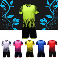 Wholesale Wholesale Blank Football Jersey - Effectsports 2017 Adult Men's kit Customized your team Logo Blank Soccer Jerseys set Uniform Camisetas de Futbol with Shorts Football Shirts
