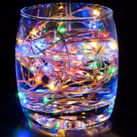 perles de couleur led achat en gros de-9 Couleur 5M 50leds Fée De Noël Ficelle Lampe Lampe À Piles LED Éclairage décoratif chaîne Perles DC Holiday Lighting