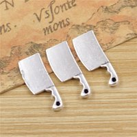 Wholesale Vintage Kitchen Knife - Wholesale- 25 pcs lot Kitchen Knife Charms Pendants for Jewelry Making Vintage Antique Silver Plated DIY handmade 23*9mm