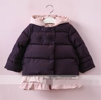 Wholesale Tench Piece Clothing - Winter New Girls coat falbala hooded vest long sleeve Cotton-padded coat 2 Piece Sets Children Clothing 2-8T 318931