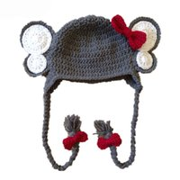 Wholesale Elephant Crochet - Novelty Elephant Hat,Handmade Knit Crochet Baby Girl Gray Animal Hat with Red Bow,Toddler Earflap Winter Cap,Infant Photo Prop