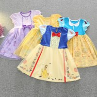 Wholesale White Short Sleeve Dresses Wholesale - Princess Dress Snow White Belle Dress Puff sleeve Tulle Girl Cute Beauty and the Beast Birthday Party Dresses Cotton Floral 2-7years 2017