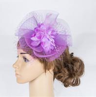Wholesale Crinoline Hair - Free shipping high quility Purple bridal veils headwear mesh fascinators silk flower Crinoline hair accessories cocktail hats 6Pcs lotMYQ061