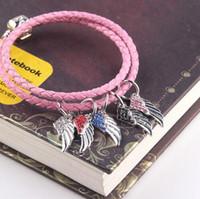 perles clignotantes halloween achat en gros de-2017 plein flash perceuse aile pendentif en alliage grand trou perle bracelet bracelet style européen et américain de bricolage accessoires usine en gros