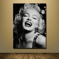 sexy gerahmte leinwand großhandel-1 Stücke Leinwand Druck Sexy Marilyn Monroe Schwarz Und Weiß Ölgemälde Wandkunst Bilder Für Wohnzimmer Dekoration Kein Gestaltet