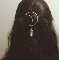 Wholesale Hair Clips Clamp - Fashion Vintage Women Alloy Moon Hair Clip Natural Stone Pendant Charms Clamp Hairpin