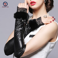 Wholesale Long Leather Gloves Lace - Wholesale- 2016 new Fashion women long gloves lace rabbit hair fingerless spring autumn winter sheepskin leather lady gloves free shipping