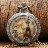 Wholesale Eiffel Tower Pocket Watch Necklace - Wholesale-Bronze Transparent PARIS Eiffel Tower Roman Numbers Quartz Pocket Watch Necklace Chain Pendant For Women Ladies Girl Gift P191
