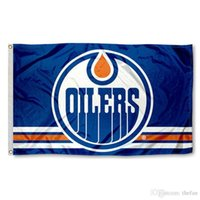 Wholesale Edmonton Oilers Hockey Flag Hockey Team Flag Banners Win Champion Flags Polyester Banner Kids Birthday Party Decoration x5 Feet